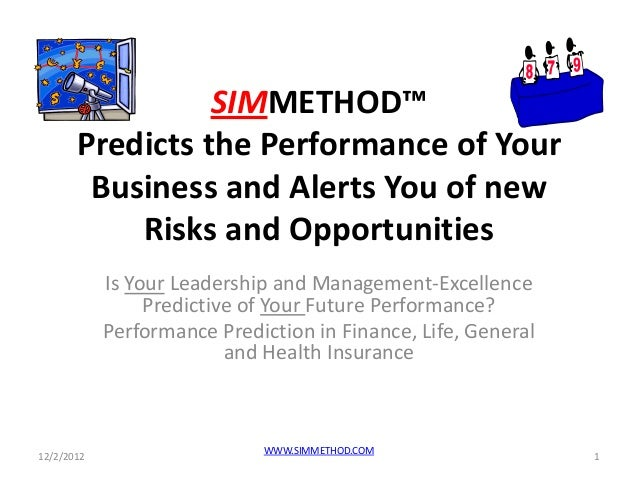 SIMMETHOD™       Predicts the Performance of Your        Business and Alerts You of new           Risks and Opportunities ...