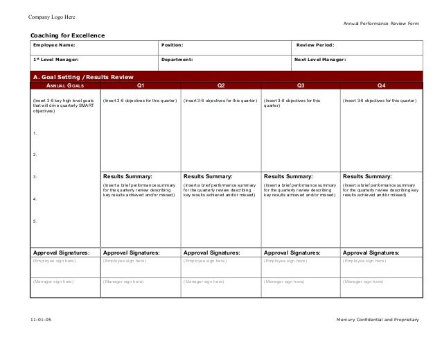 Coaching for excellence employee annual performance for Quarterly employee review template