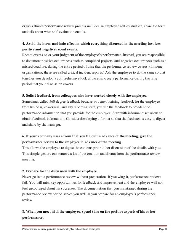 Performance reviews phrases – Performance Review Template Free Download