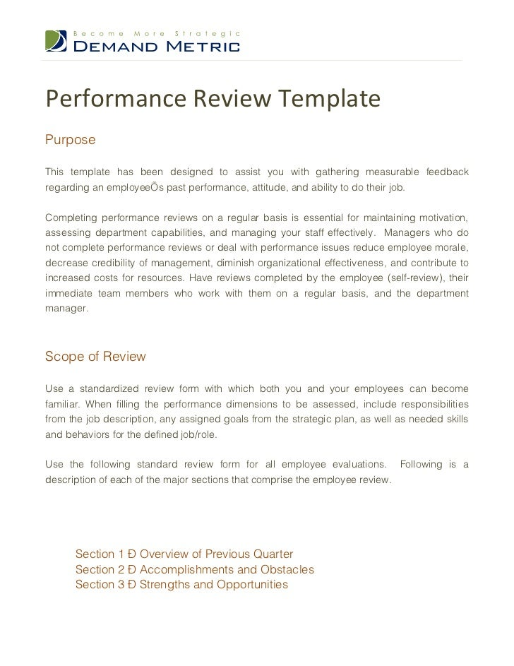 Performance review template for Performance review letter template