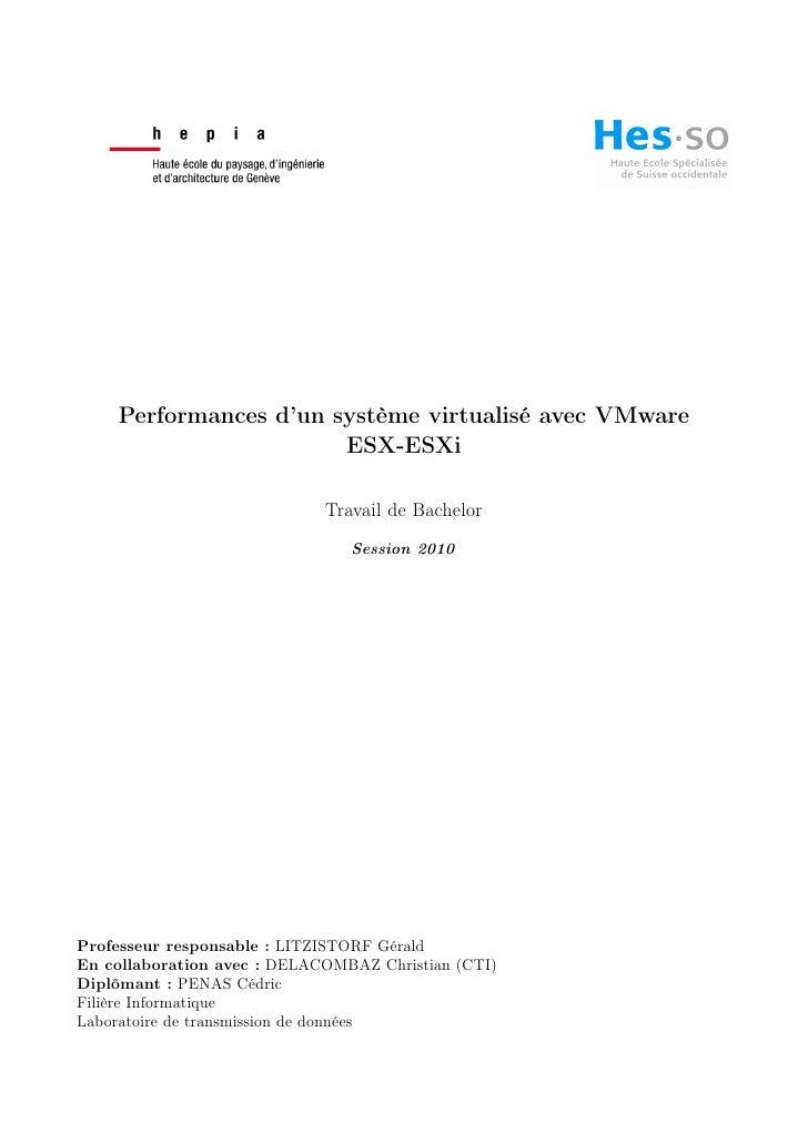 Performances d'un système virtualisé avec VMware                       ESX-ESXi                             Travail de Bac...