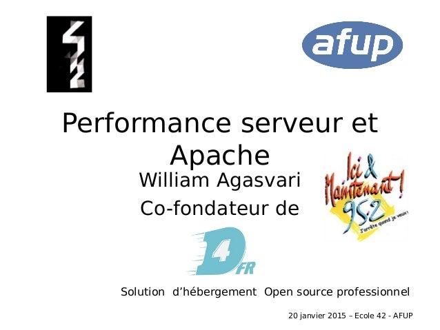 Performance serveur et Apache William Agasvari Co-fondateur de Solution d'hébergement Open source professionnel 20 janvier...