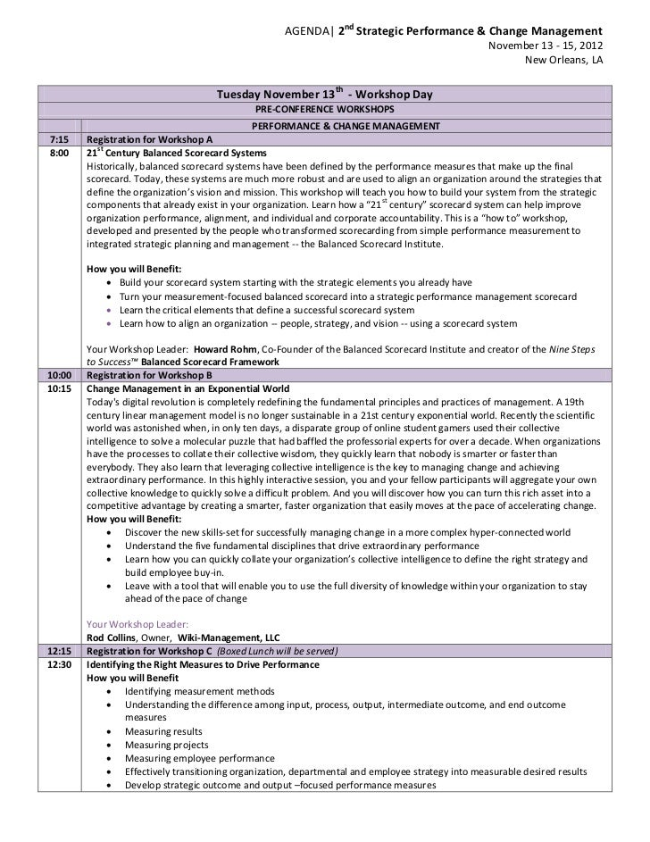 AGENDA| 2nd Strategic Performance & Change Management                                                                     ...
