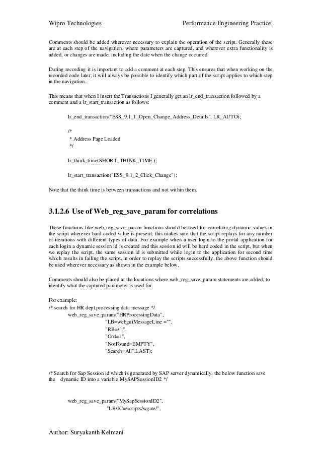 Performance tesing coding standards & best practice