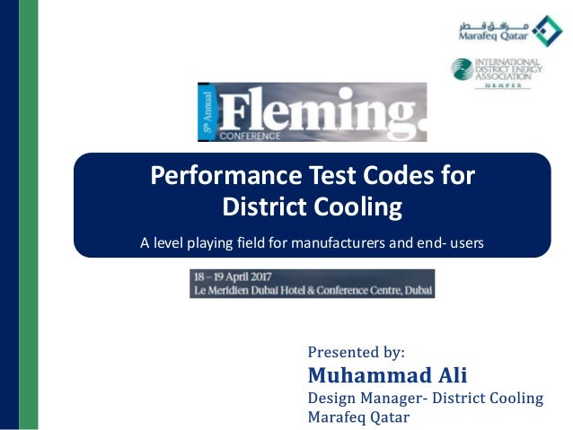 Performance Test Codes for District Cooling