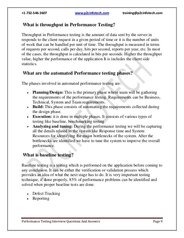 Performance testing interview questions and answers