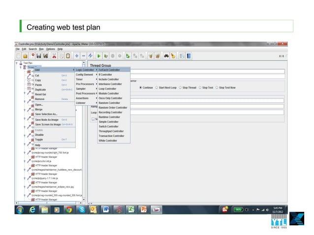 Creating web test plan