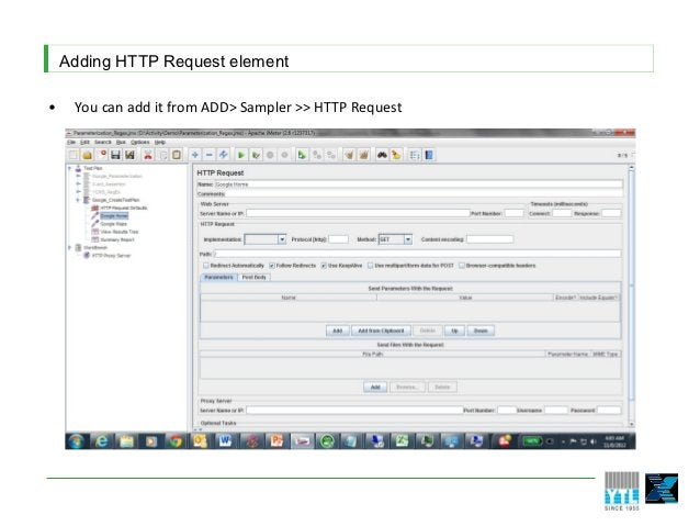 Adding HTTP Request element•    You can add it from ADD> Sampler >> HTTP Request