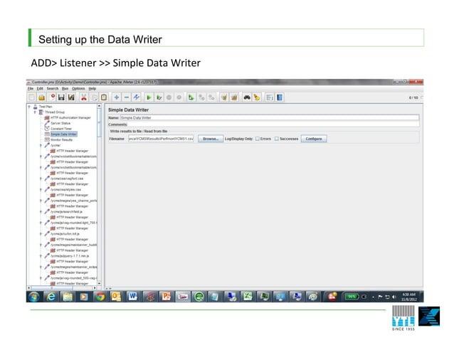 Setting up the Data WriterADD> Listener >> Simple Data Writer