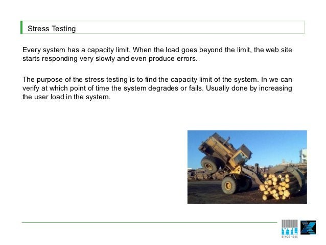Stress TestingEvery system has a capacity limit. When the load goes beyond the limit, the web sitestarts responding very s...