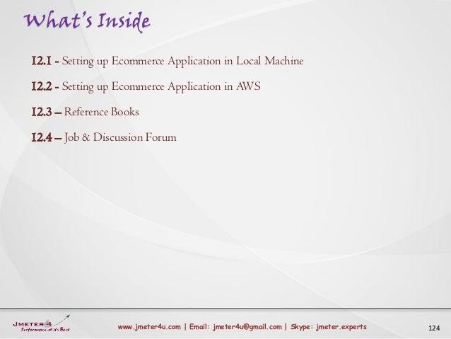 What's Inside 124www.jmeter4u.com | Email: jmeter4u@gmail.com | Skype: jmeter.experts 12.1 - Setting up Ecommerce Applicat...