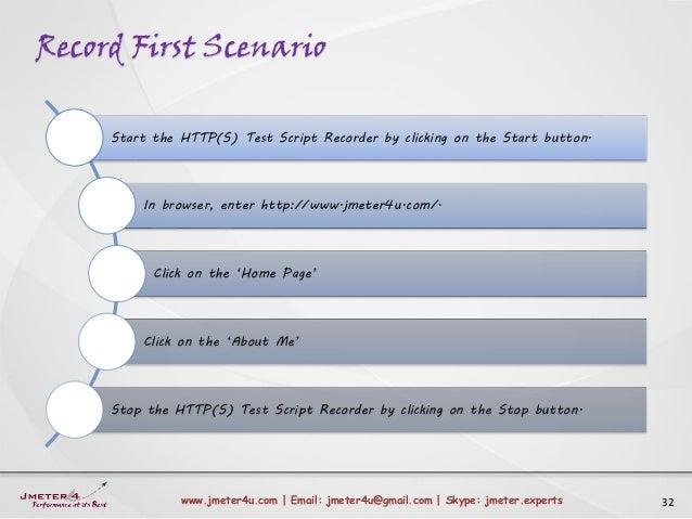 Record First Scenario 32www.jmeter4u.com | Email: jmeter4u@gmail.com | Skype: jmeter.experts Start the HTTP(S) Test Script...