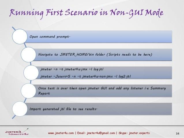 Running First Scenario in Non-GUI Mode 34www.jmeter4u.com | Email: jmeter4u@gmail.com | Skype: jmeter.experts Open command...