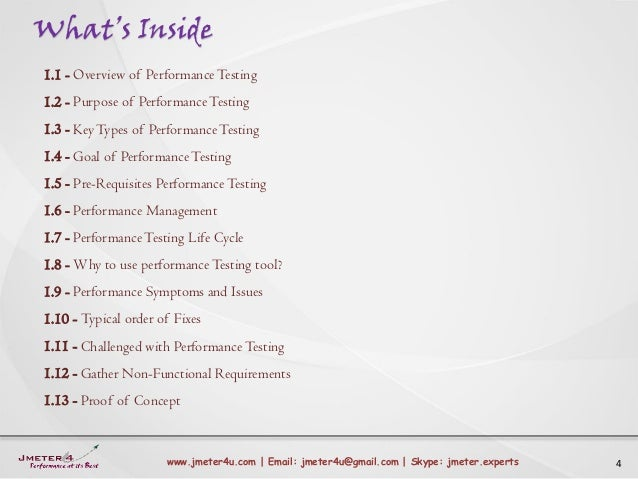 What's Inside 4www.jmeter4u.com | Email: jmeter4u@gmail.com | Skype: jmeter.experts 1.1 - Overview of PerformanceTesting 1...
