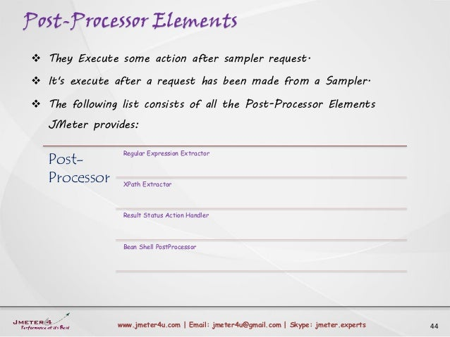 Post-Processor Elements 44www.jmeter4u.com | Email: jmeter4u@gmail.com | Skype: jmeter.experts  They Execute some action ...