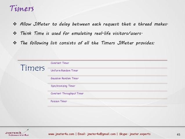 Timers 45www.jmeter4u.com | Email: jmeter4u@gmail.com | Skype: jmeter.experts  Allow JMeter to delay between each request...