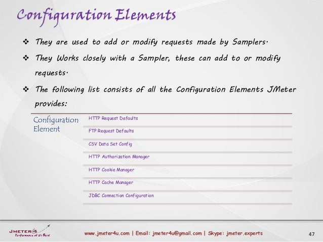 Configuration Elements 47www.jmeter4u.com | Email: jmeter4u@gmail.com | Skype: jmeter.experts  They are used to add or mo...
