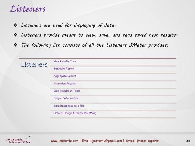 Listeners 48www.jmeter4u.com | Email: jmeter4u@gmail.com | Skype: jmeter.experts  Listeners are used for displaying of da...