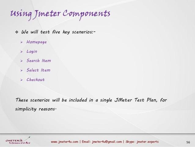 Using Jmeter Components 56www.jmeter4u.com | Email: jmeter4u@gmail.com | Skype: jmeter.experts  We will test five key sce...