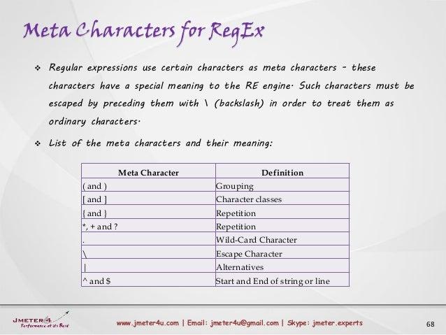 Meta Characters for RegEx 68www.jmeter4u.com | Email: jmeter4u@gmail.com | Skype: jmeter.experts  Regular expressions use...