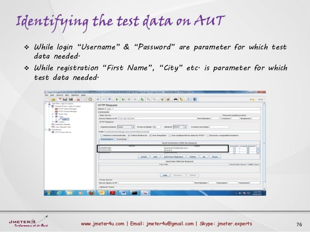"Identifying the test data on AUT 76www.jmeter4u.com | Email: jmeter4u@gmail.com | Skype: jmeter.experts  While login ""Use..."