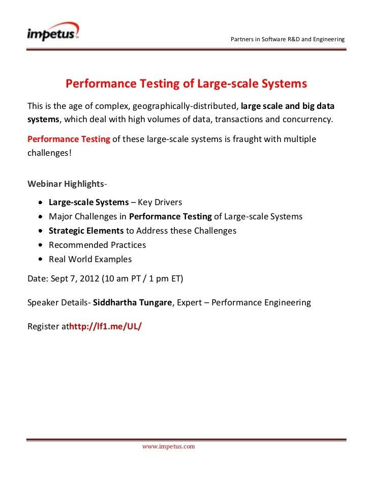 Partners in Software R&D and Engineering          Performance Testing of Large-scale SystemsThis is the age of complex' ge...