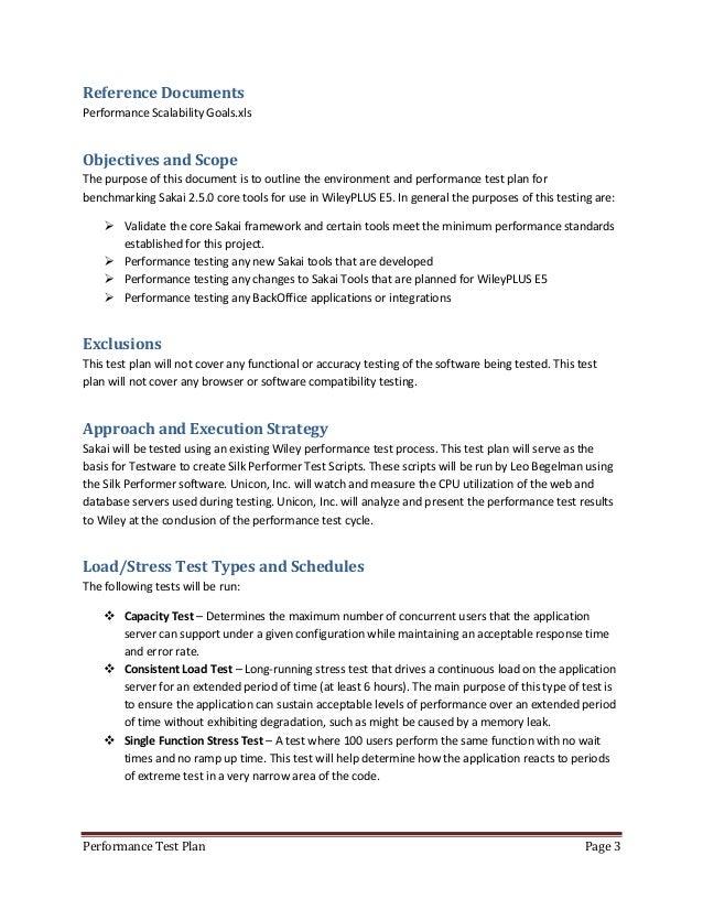 9 Performance Test Plan Page 2; 4.