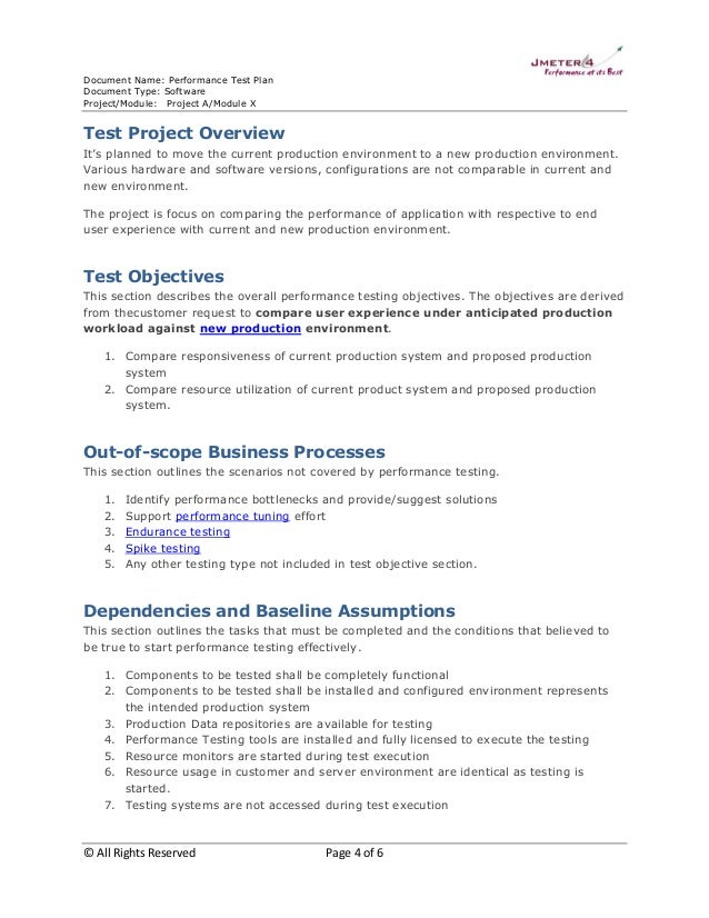 performance testing test plan template sample test plan