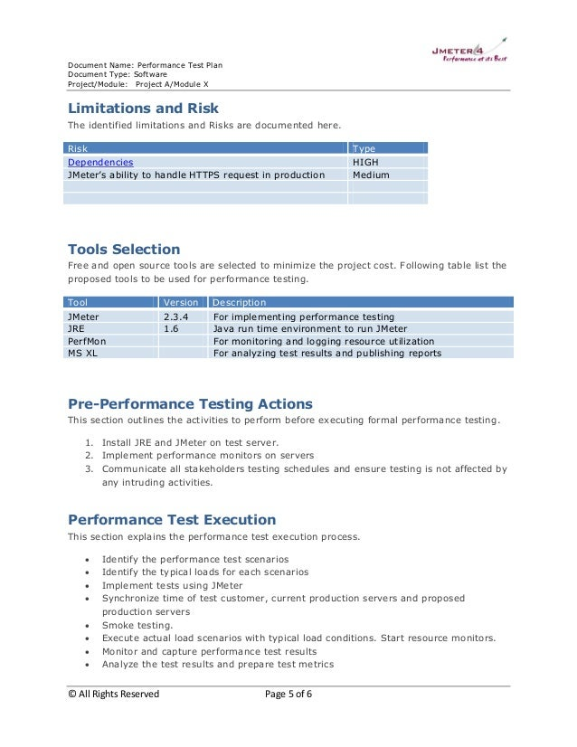 Performance Test Plan  Sample
