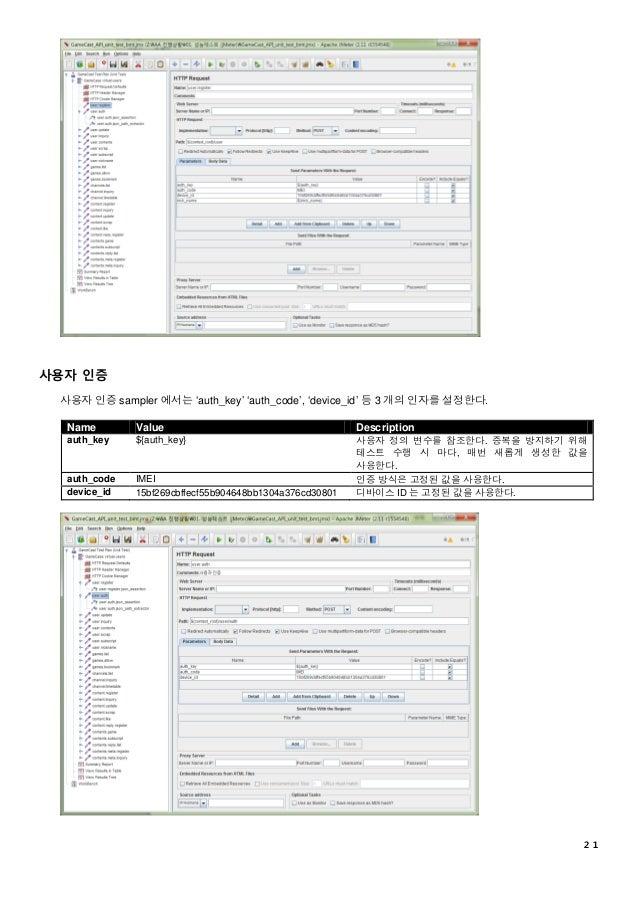 21 사용자 인증 사용자 인증 sampler 에서는 'auth_key' 'auth_code', 'device_id' 등 3 개의 인자를 설정한다. Name Value Description auth_key ${auth_k...