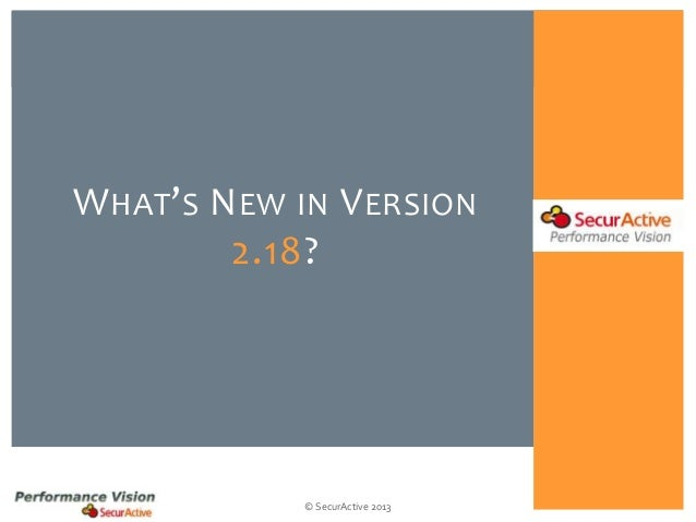 W HAT' S N EW IN V ERSION 2.18?  © SecurActive 2013