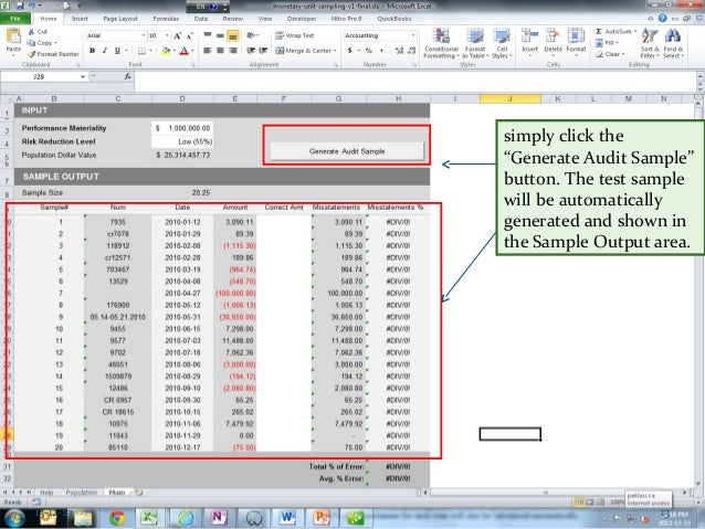 Perform Audit Testing In Excel Monetary Unit Sampling Method
