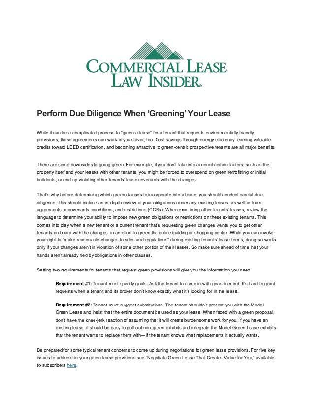 """Perform Due Diligence When 'Greening' Your Lease While it can be a complicated process to """"green a lease"""" for a tenant tha..."""