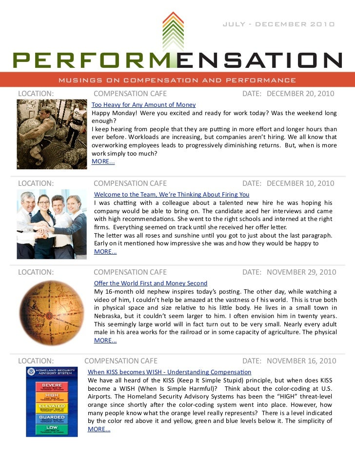 JULY - DECEMBER 2010            MUSINGS ON COMPENSATION AND PERFORMANCELOCATION:          COMPENSATION	  CAFE             ...