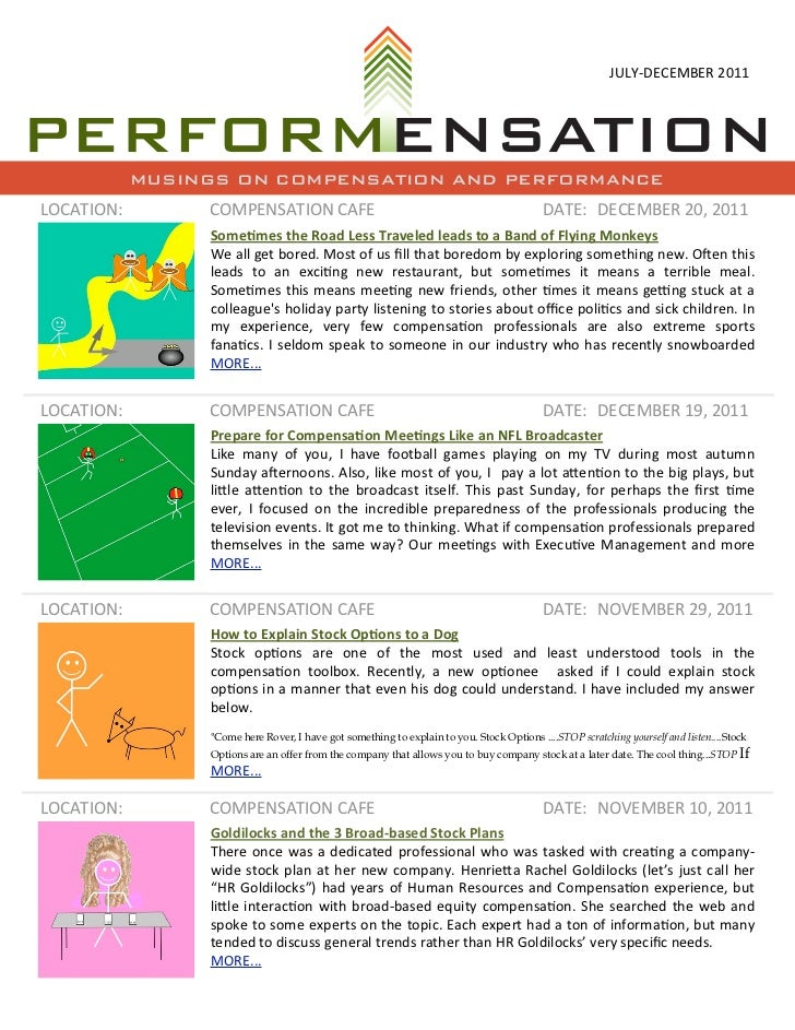 JULY-‐DECEMBER 2011            MUSINGS ON COMPENSATION AND PERFORMANCELOCATION:        COMPENSATION CAFE             ...
