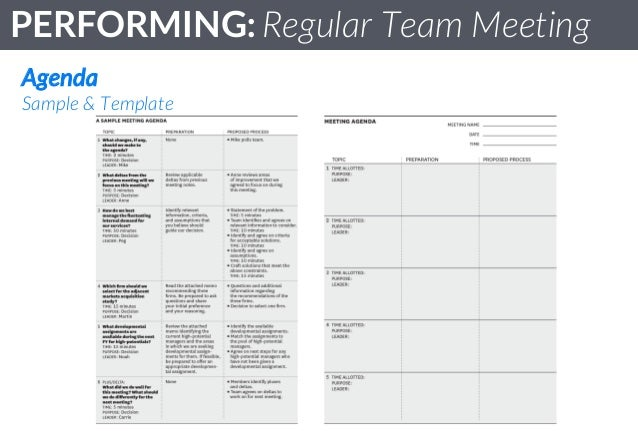 Team Standards  Performing  Regular Team Meetings