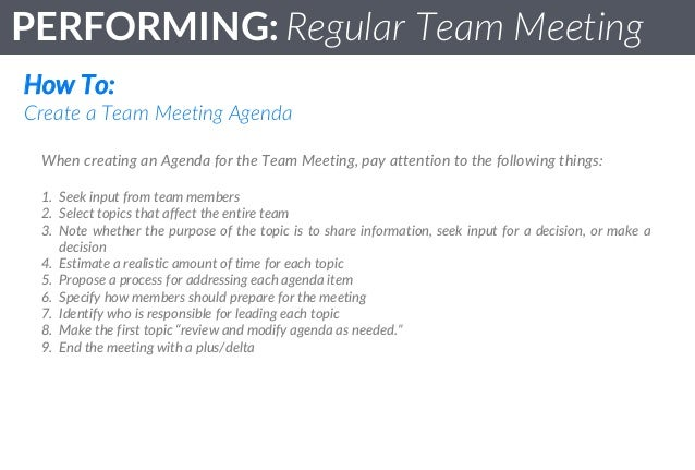Team Standards - Performing : Regular Team Meetings