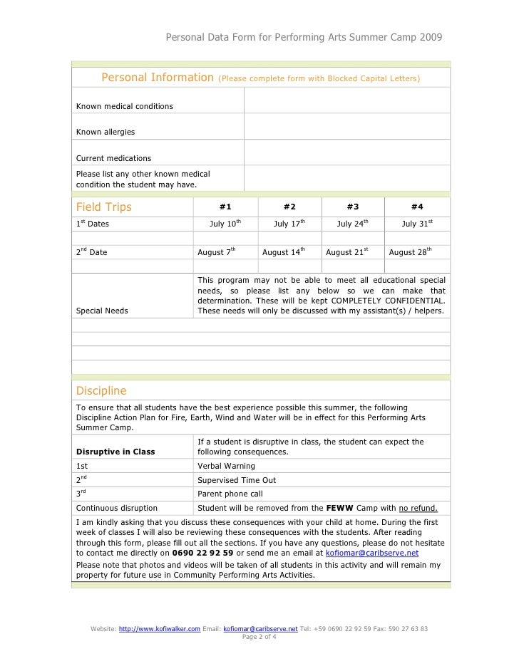 Performing Arts Summer Camp.Registration Form
