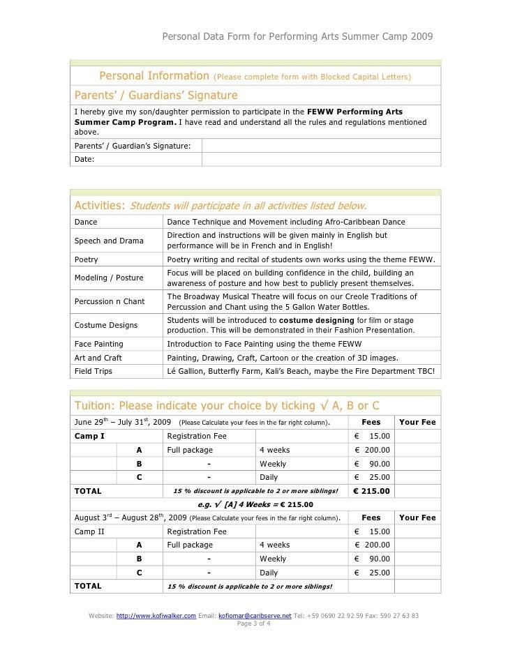Performing Arts Summer Camp Registration Form