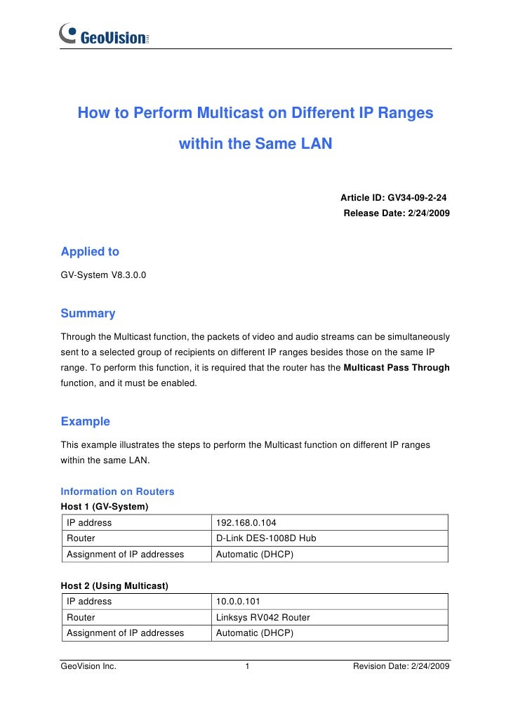 How to Perform Multicast on Different IP Ranges                             within the Same LAN                           ...