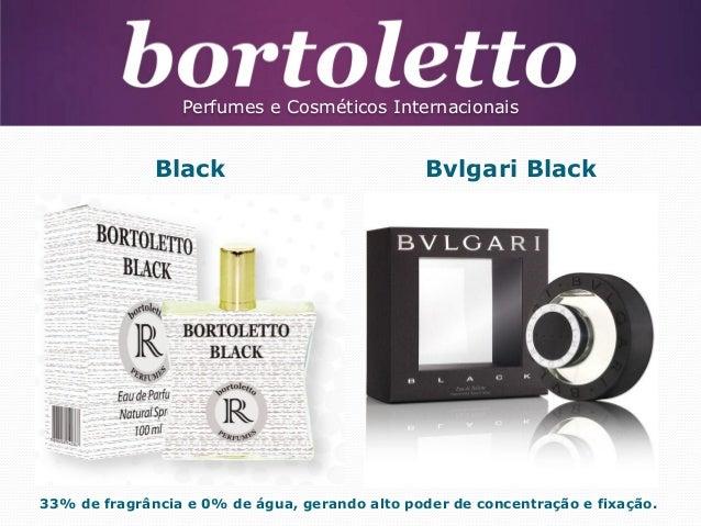 Perfumes e Cosméticos Internacionais  Black  Bvlgari Black  33% de fragrância e 0% de água, gerando alto poder de concentr...