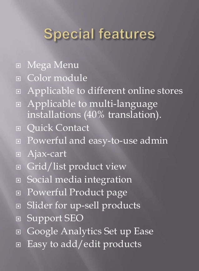    Mega Menu   Color module   Applicable to different online stores   Applicable to multi-language    installations (4...