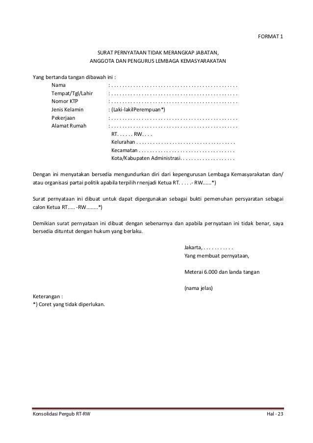 Contoh Surat Pengunduran Diri Ketua Rt Doc