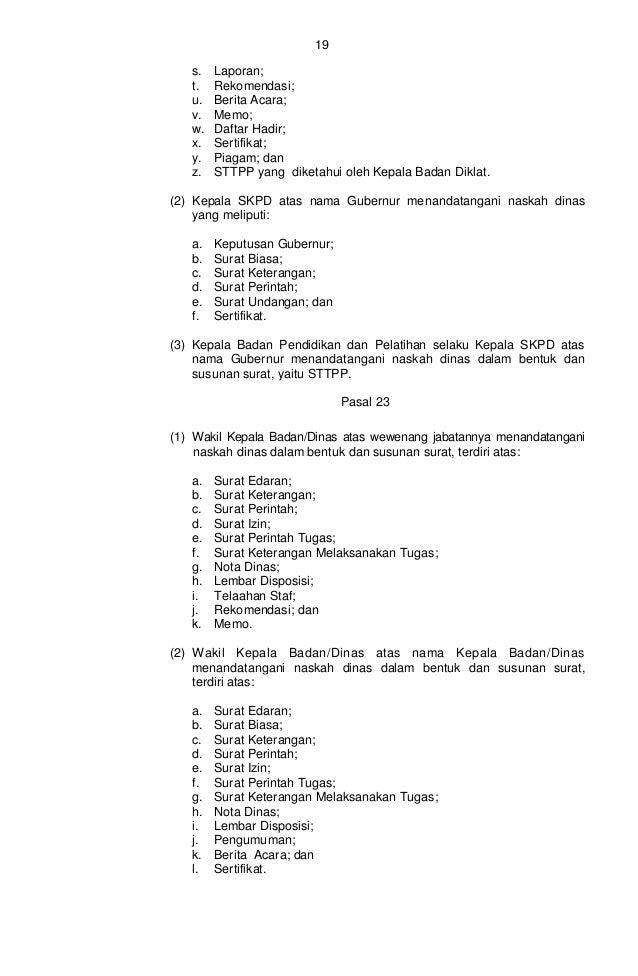 Pergub Tata Naskah Dinas No 194 Tahun 2012