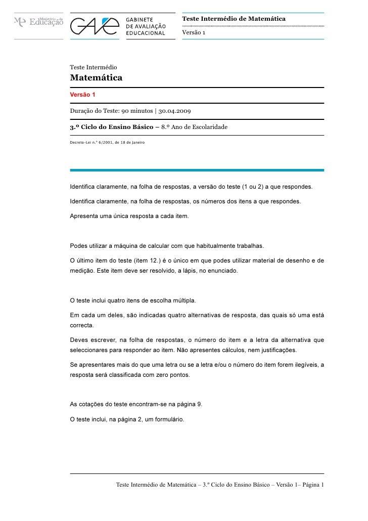 Teste Intermédio de Matemática                                                   Versão 1     Teste Intermédio Matemática ...