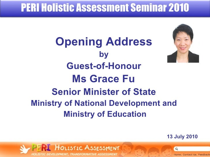 Opening Address   by  Guest-of-Honour   Ms Grace Fu  Senior Minister of State   Ministry of National Development and  Mini...