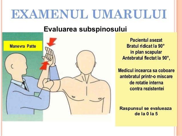 EXAMENUL UMARULUI Evaluarea subspinosului Manevra Patte  Pacientul asezat Bratul ridicat la 90° in plan scapular Antebratu...