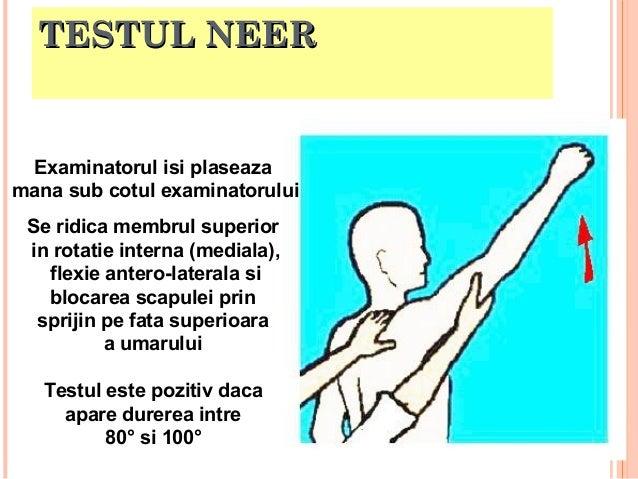 TESTUL NEER  Se ridica membrul superior in rotatie interna (mediala), flexie antero-laterala si blocarea scapulei prin spr...