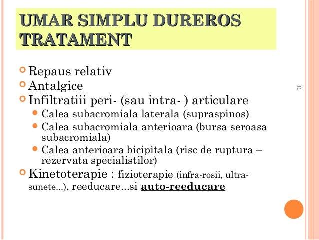 UMAR SIMPLU DUREROS TRATAMENT  Repaus   Calea  subacromiala laterala (supraspinos)  Calea subacromiala anterioara (burs...