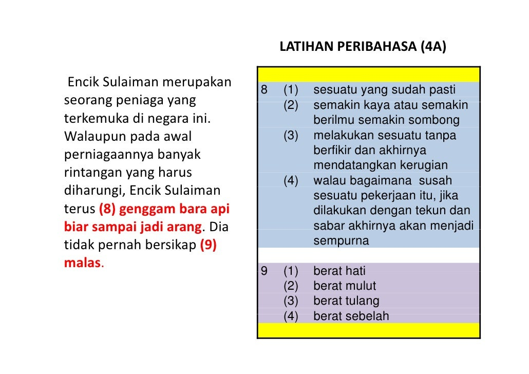 Latihan Bahasa Melayu PSLE - Peribahasa 04 Slide 2
